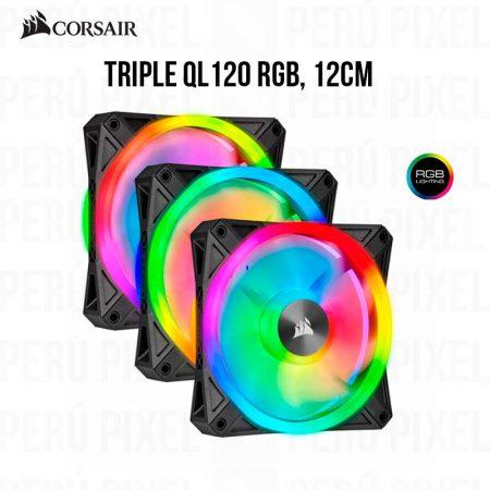 COOLER PARA CASE CORSAIR TRIPLE QL120 RGB 12CM